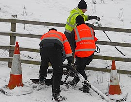 Engineers working in snow