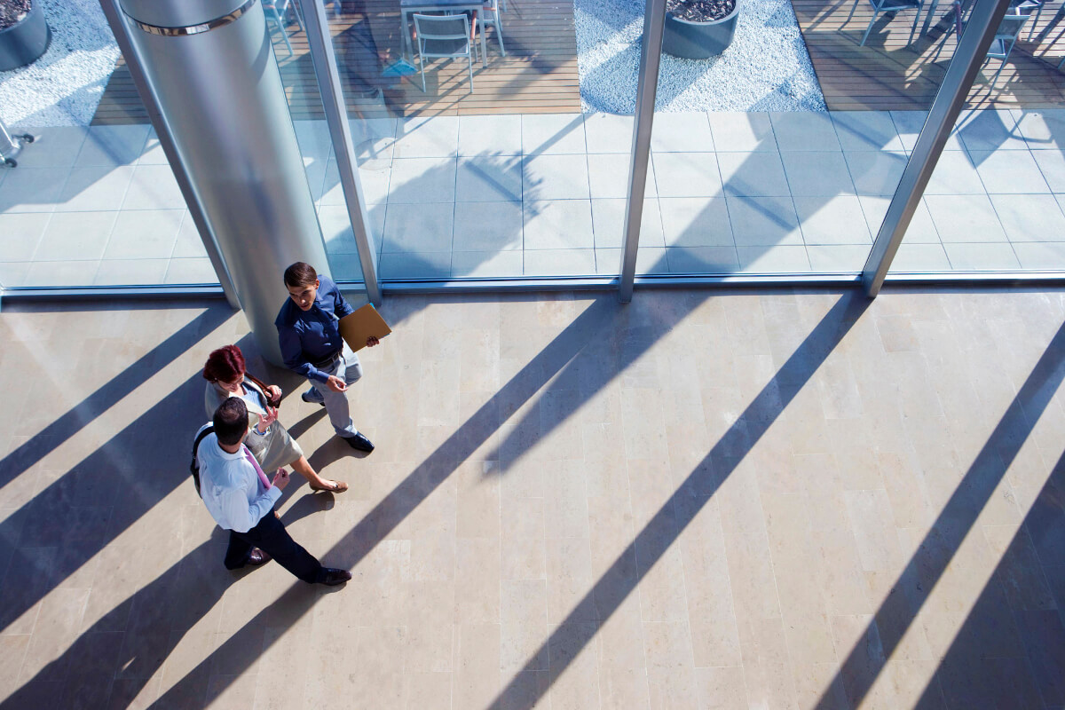 Aerial of people in a building