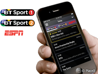 BT Sport 1, BT Sport 2, ESPN, Android and iPhone apps