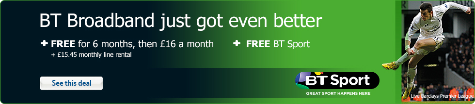 BT Broadband just got even better + FREE for 6 months, then £16 a month + FREE BT Sport + £15.45 monthly line rental – See this deal