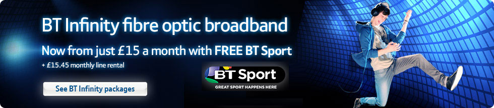 BT Infinity fibre optic broadband – Now from just £15 a month with FREE BT Sport + £15.45 monthly line rental