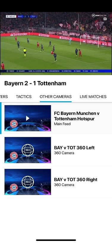 View of other cameras on BT Sport enhanced on mobile