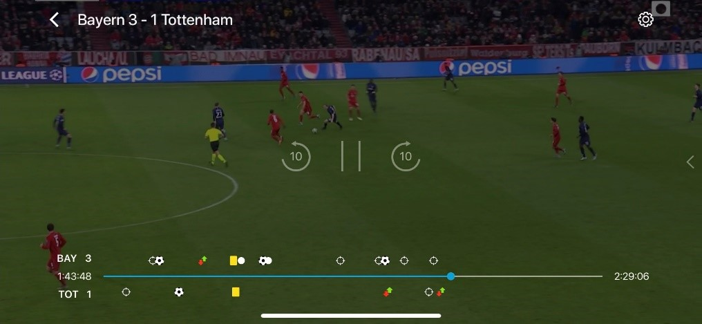 View of timeline on BT Sport enhanced on mobile