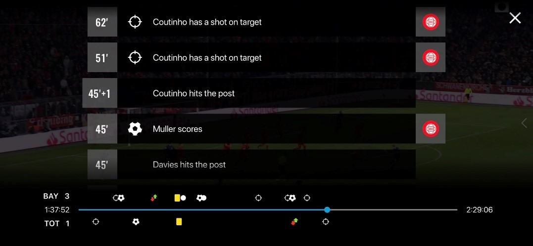 View of list of multicam and VR360 options on BT Sport enhanced on mobile