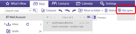 Managing spam in BT Mail
