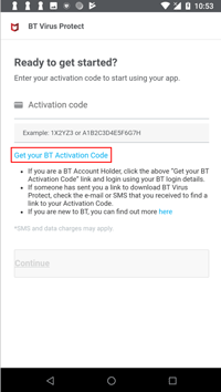 Click activation code link