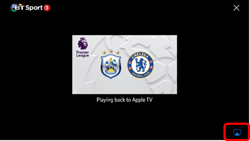 A TV screen showing a football match and the Airplay icon in the bottom right corner of the video player