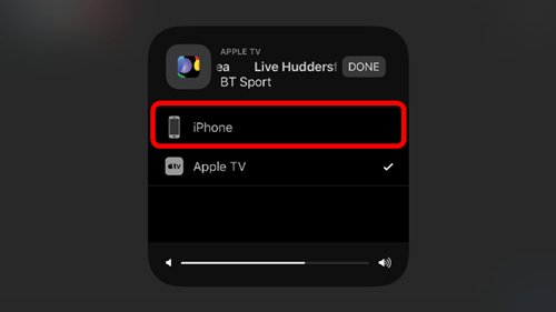 A menu showing Apple TV and iPhone options