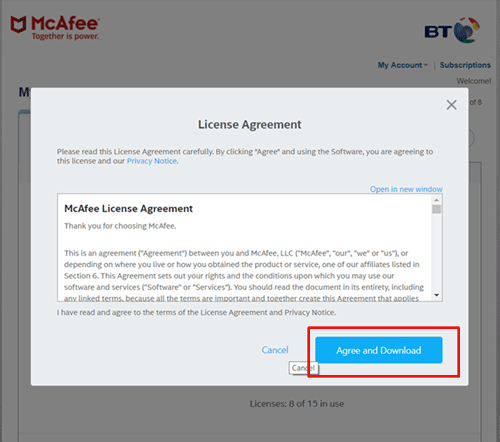 Accept the End User Licence Agreement
