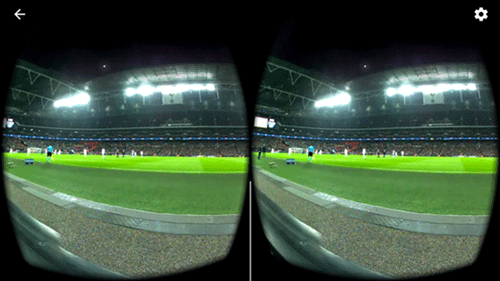 View of the football pitch as if watching through the headset lense