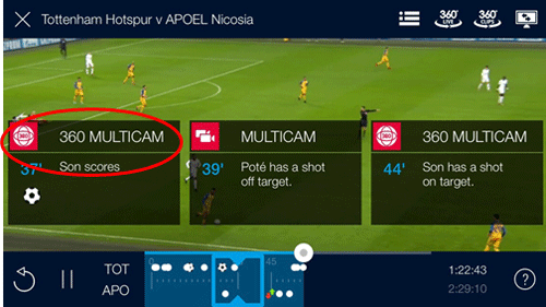 TV screen showing a football match and the 360 Multicam button overlaid