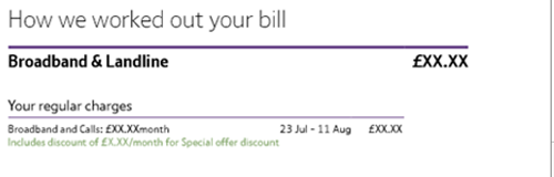Discount showing on the new bill under the How we worked out your bill section