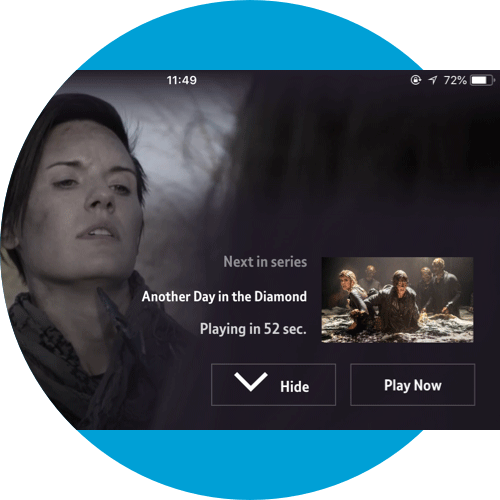 Play Now button for On Demand content on a mobile