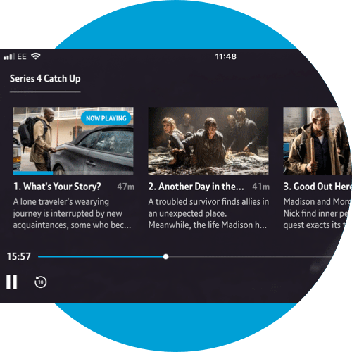 On Demand episodes in the series screen on a mobile