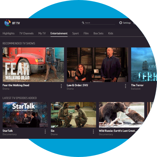Entertainment screen on the web showing TV shows