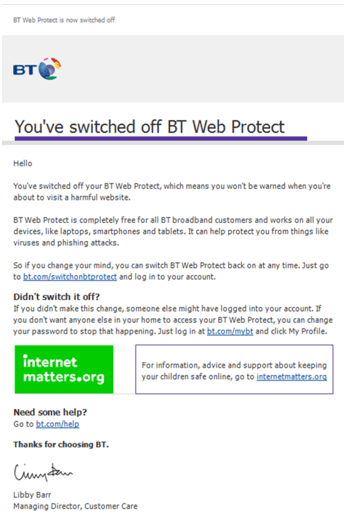 This is a copy of what a BT Web Protect warning page looks like
