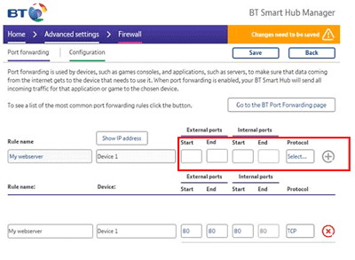 Set up port forwarding on the BT Smart Hub