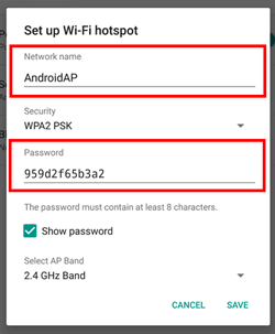 Setting up tethering on an Android phone