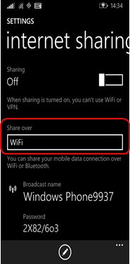 Setting up tethering on a Windows phone