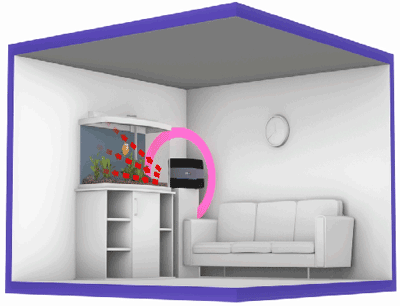 Illustration of a BT Smart Hub next to a fish tank