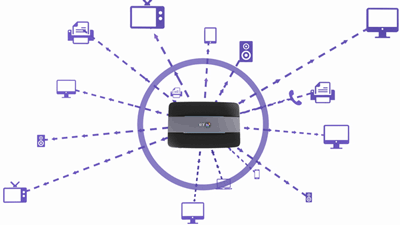Illustration of BT Smart Hub connecting to other devices and televisions
