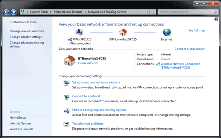 Connecting to a Hub wirelessly with a PC with Windows 7