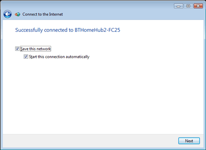Connecting to a Hub wirelessly with a PC with Windows Vista