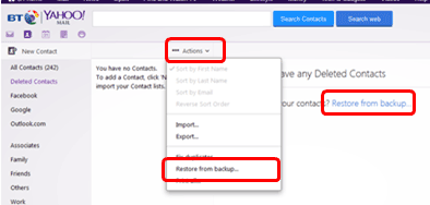 yahoo restorecontacts 2 - How To Get Back Emails That Were Deleted Yahoo