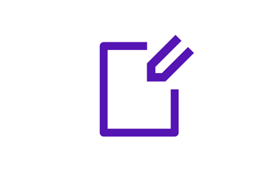 Purple icon with document being edited