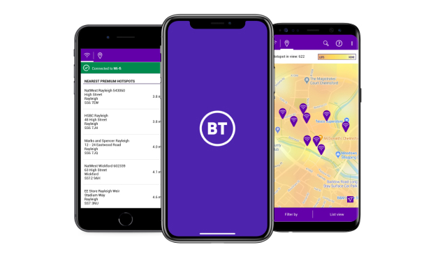 Device screens showcasing the BT Wi-Fi app. Featuring maps of wi-fi hot spots near you along with the address and distance.